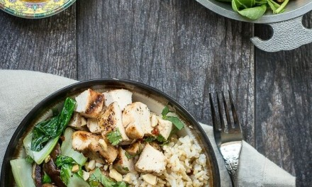 Grilled Chicken Rice Bowl with Bok Choy