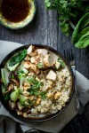 Grilled chicken, bok choy and shiitake mushrooms
