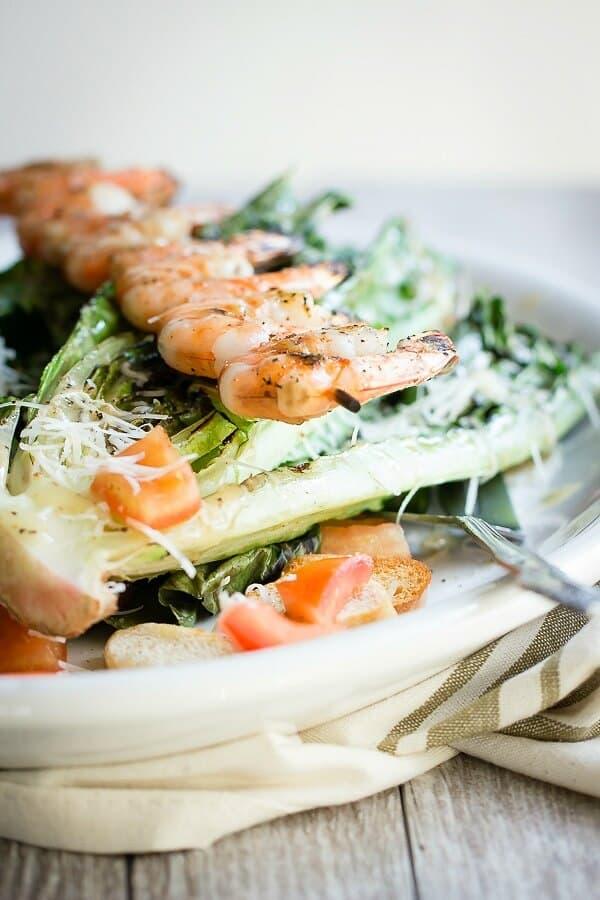 Grilled Caesar Salad with Shrimp