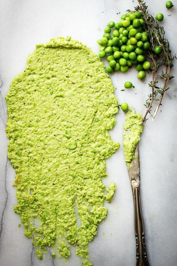 Sweet peas pureed with fresh thyme