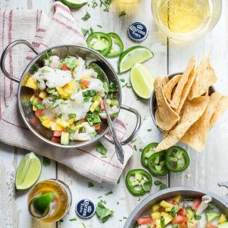 Fresh ceviche with mango, jalapeño and lime juice