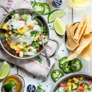 Fresh tilapia ceviche with many and jalapeño