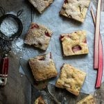 Rhubarb and white chocolate blondies, moist and delicious