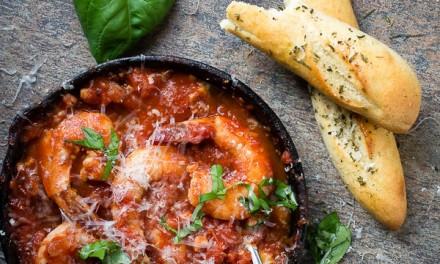Roasted Garlic Tomato Sauce with Juicy Shrimp