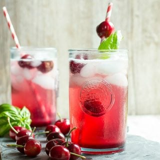 Fizzy cherry basil soda, perfect for summer