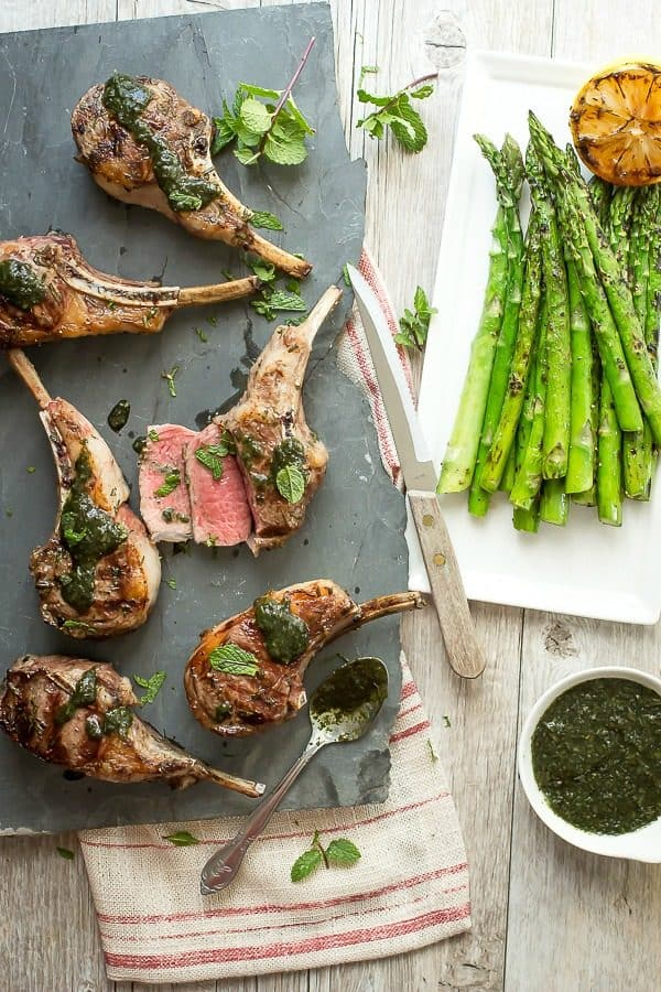 Juicy grilled lamb chop steaks drizzled with mint sauce. perfect for Father's Day!!
