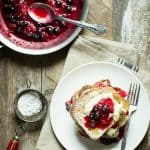 Juicy berry compote on top of sweet brioche bread