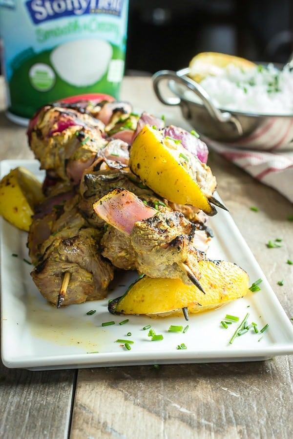 Spiced lamb kebabs on skewers