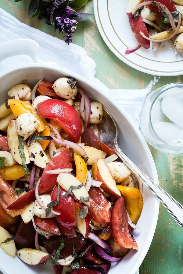 Balsamic and mozzarella salad make this heirloom tomato salad.