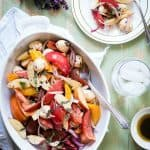 Balsamic and mozzarella salad with heirloom tomatoes.