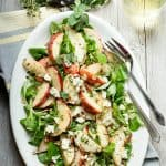 Peach salad with blue cheese and fresh garden herbs