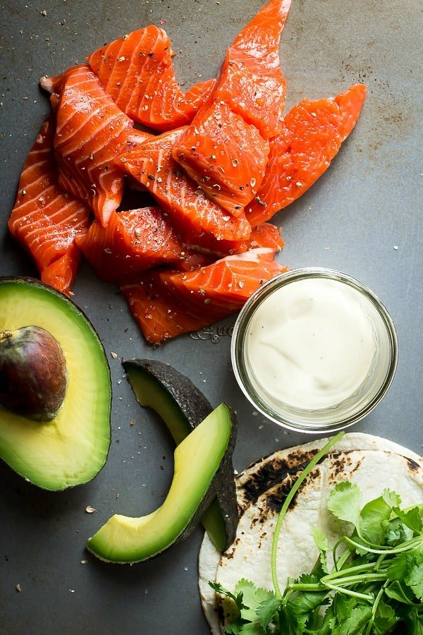 Beautiful Copper River Salmon with avocado and tortillas