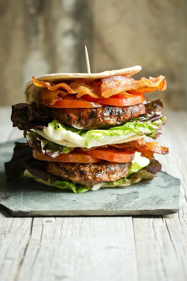The classic BLT sandwich with a juicy turkey burger.