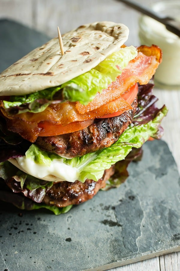 Juicy turkey burger with crispy bacon, lettuce and tomato