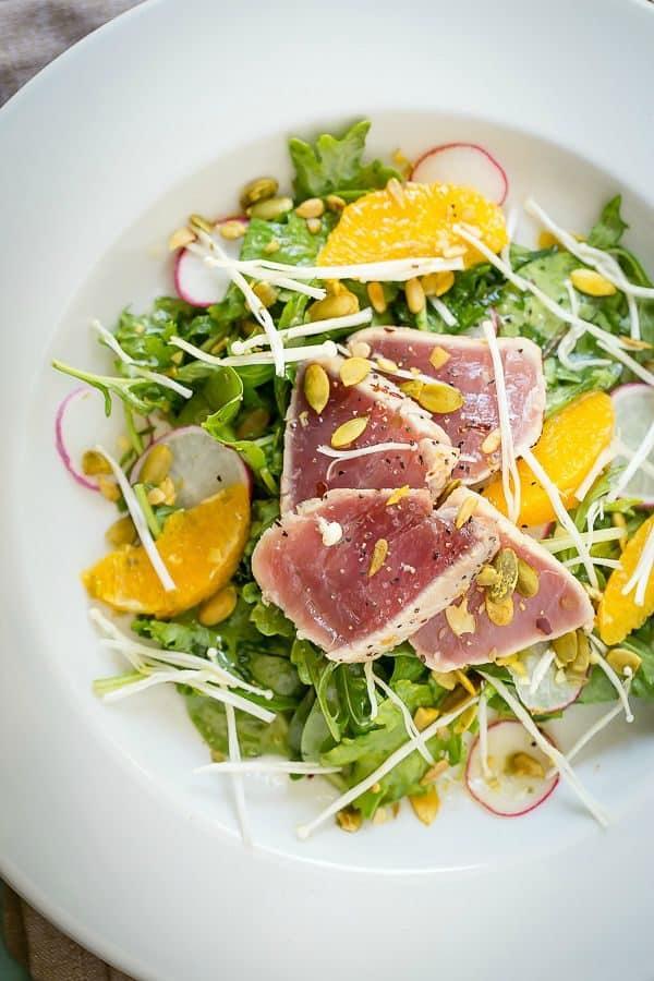 Fresh tasty ahi tuna salad with a citrus sesame oil dressing.