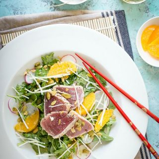 Fresh tasty ahi tuna salad with a citrus sesame oil dressing.