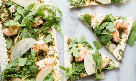 Arugula and Shrimp Pesto Flatbread