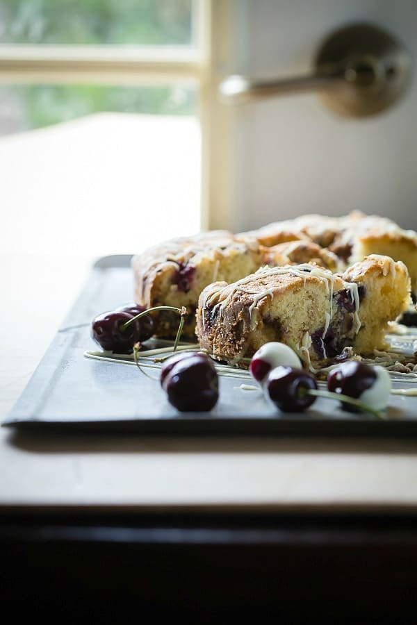 Buttery coffee cake with cherries, blackberries and white chocolate