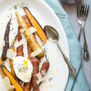 Easy roasted rainbow carrots with thyme and Parmesan