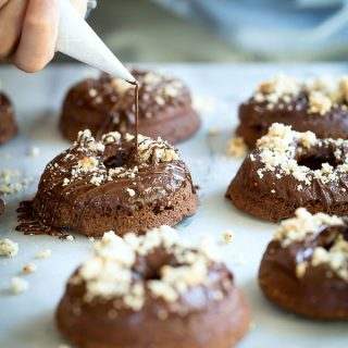 Moist fudgy double chocolate brownie doughnuts
