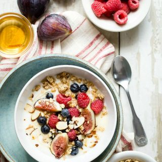 French vanilla yogurt with berries and figs