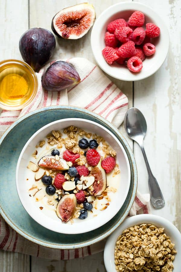 breakfast yogurt with granola figs and berries foodness gracious