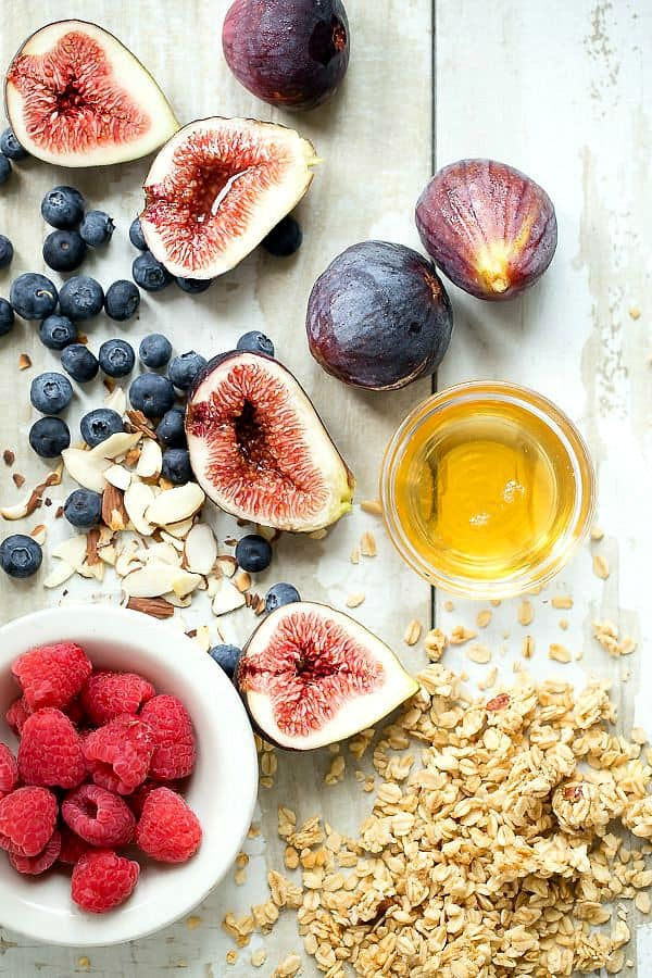 The perfect healthy breakfast. berries figs and granola