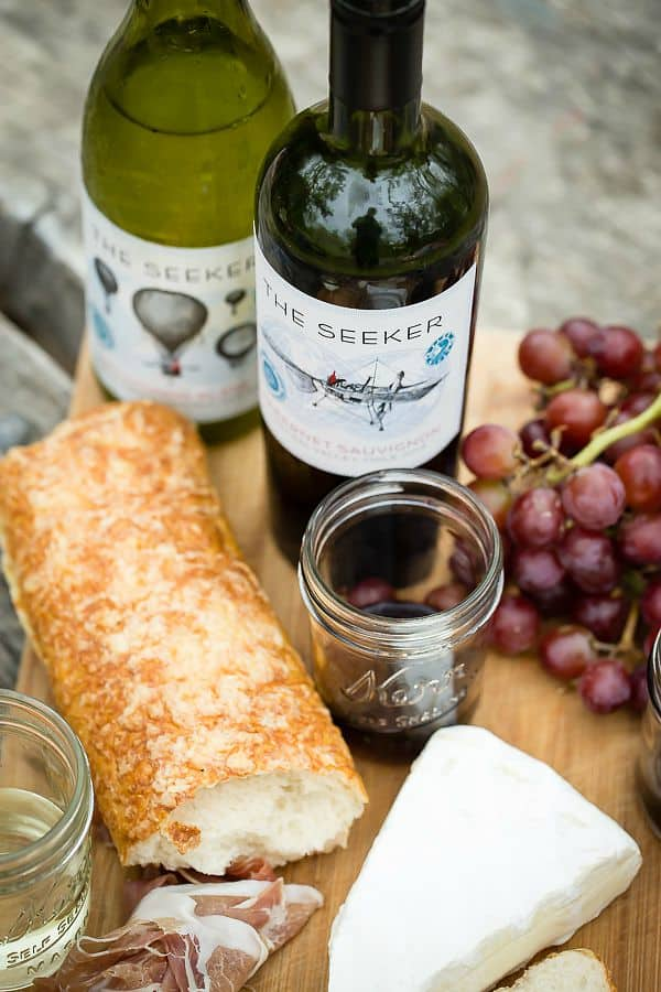 Sauvignon Blanc and Cabernet and an easy charcuterie plate from Seeker Wines