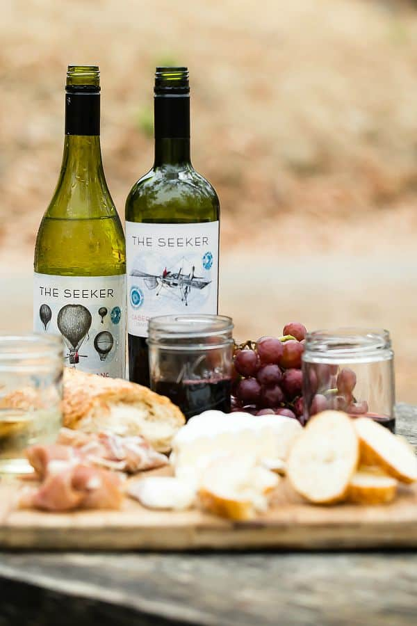 Sauvignon Blanc and Cabernet from Seeker Wines with an easy charcuterie plate
