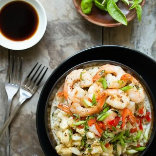 Shrimp and Roasted Cauliflower Rice Bowl