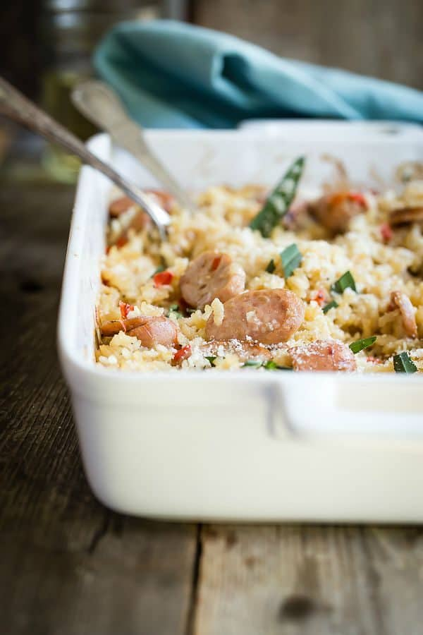 Easy baked risotto with chicken apple sausage