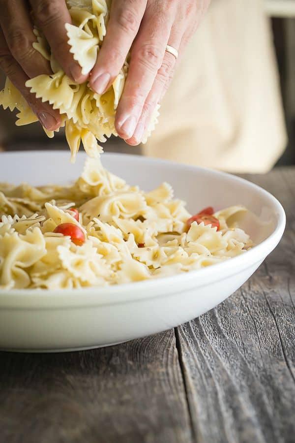 Bowtie pasta for a tomato and mozzarella salad