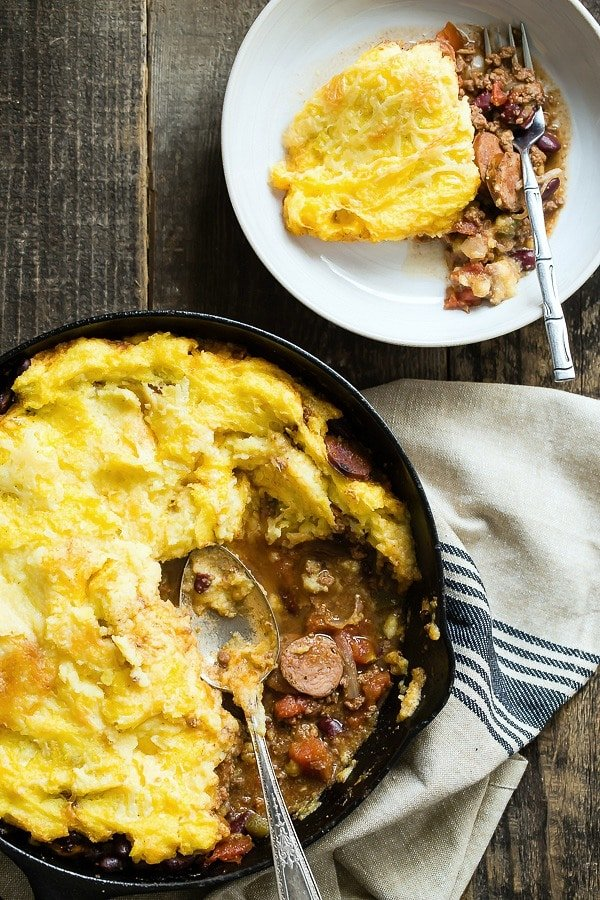Beef and Andouille Sausage Tamale Pie