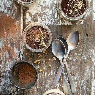 Pumpkin pudding with chocolate ganache