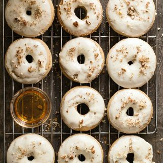 Tasty maple and pecan flavored baked donuts