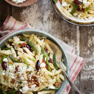 Pasta salad with roasted green beans and a Dijon and tarragon dressing