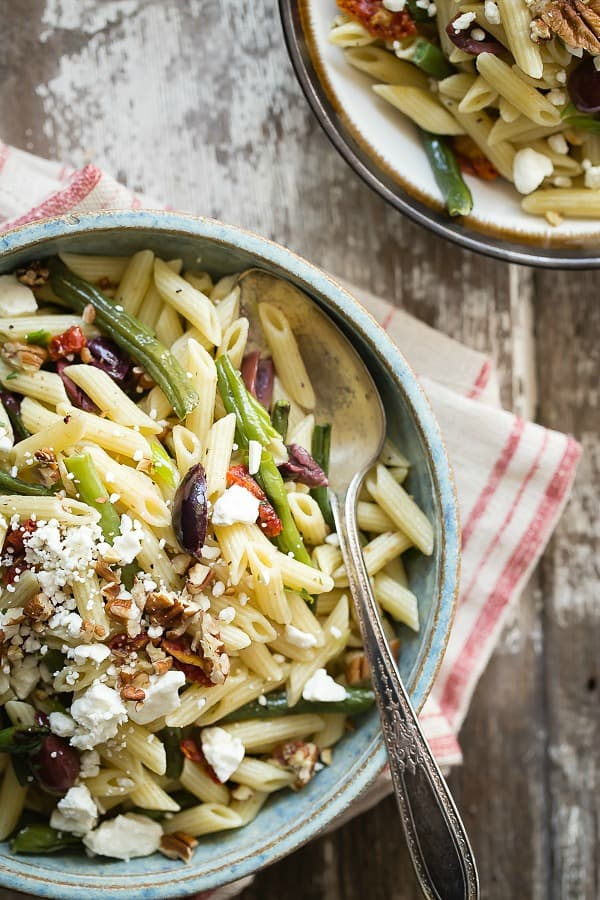 Easy pasta salad with roasted garlic green beans and Dijon and tarragon dressing