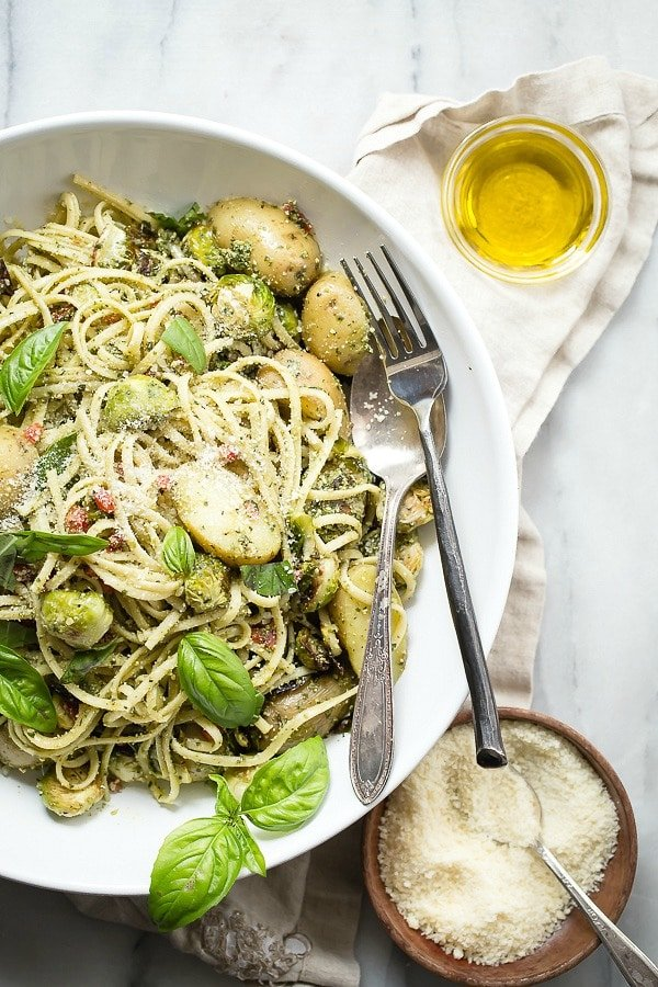 Potato Pesto Linguine with Roasted Brussels Sprouts
