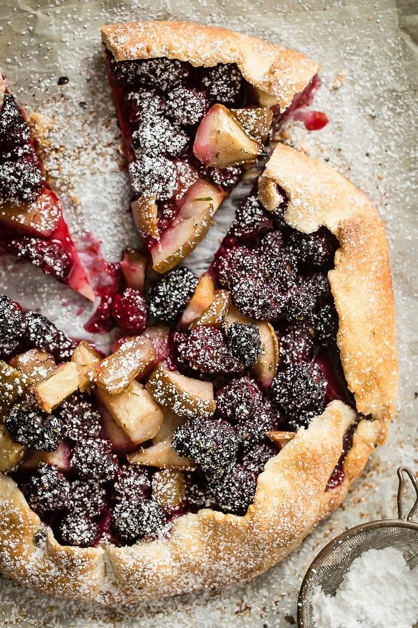 Fresh baked galette with juicy blackberries and diced pears.