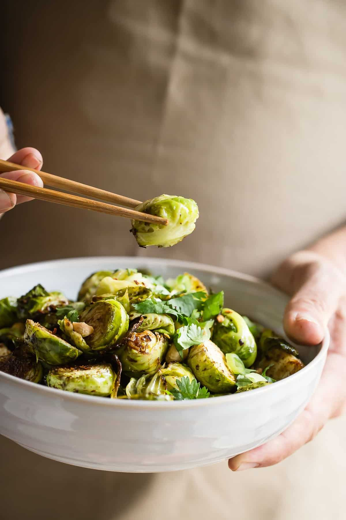 Roasted brussels sprouts tossed in Chinese five spice and hoisin sauce