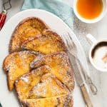 Pumpkin spice french toast dipped in an egg custard and cooked in butter