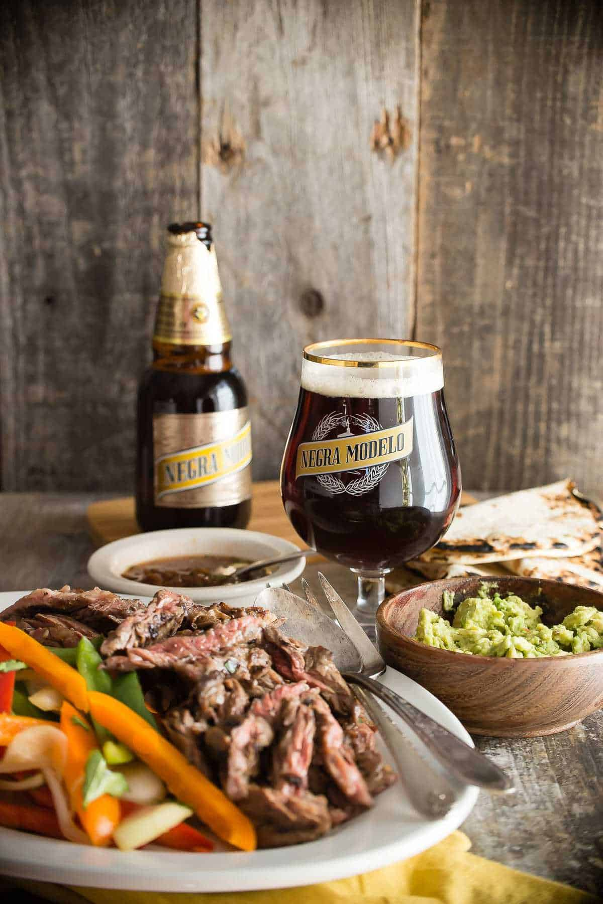 Negra Modelo Marinated Steak Fajitas.