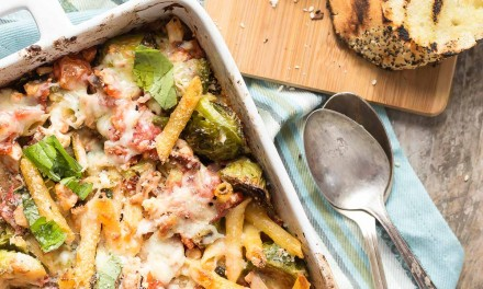 Pasta and Chicken with Roasted Brussels Sprouts
