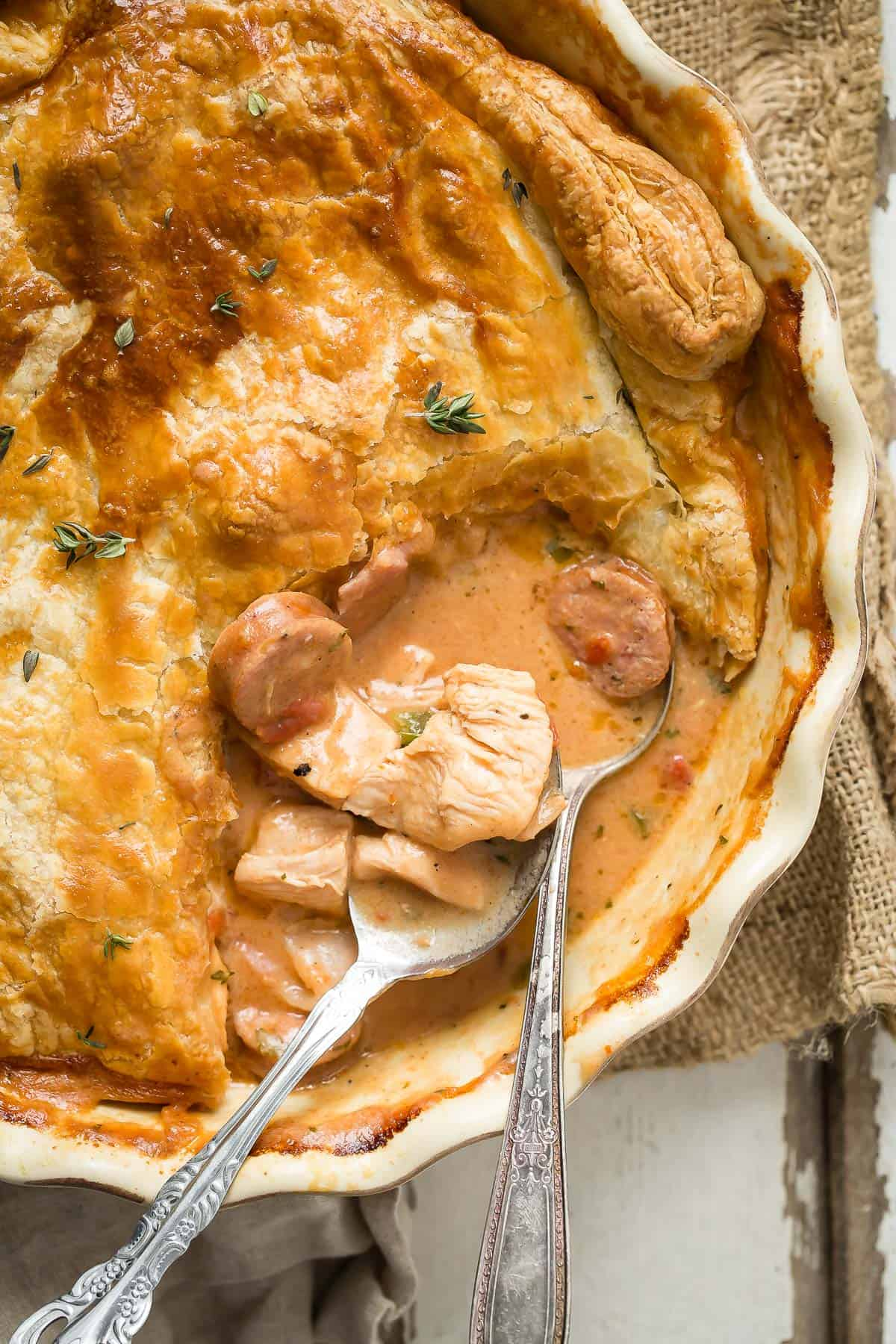 Jambalaya style chicken pot pie full of chicken, andouille sausage and cajun spices.