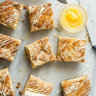 Lemon coffee cake with white chocolate chips