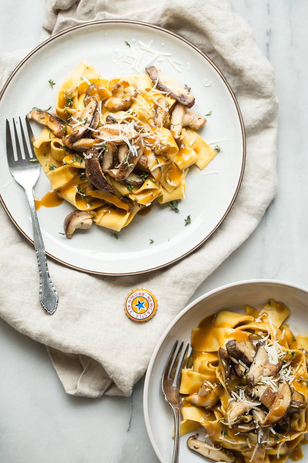 Shiitake Mushroom Pasta with a Newcastle Brown Ale Sauce.