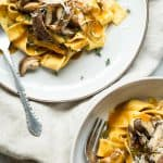 A rich mushroom pasta sauce made with vegetable stock and Newcastle brown Ale, served over pappardelle pasta and pan fried garlic shiitake mushrooms.