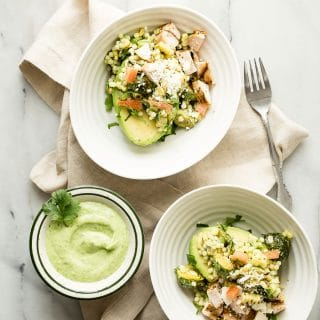 Avocado Feta Bowl with Couscous Grilled Chicken and Charred Corn