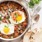 A tasty skillet full of Lightlife meatless sausage, tomatoes and seasoning. Top with an egg for a great way to start the day.