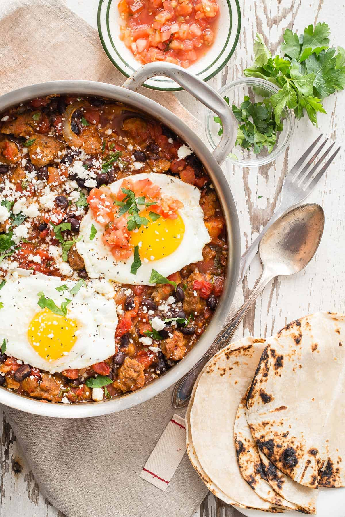 A tasty breakfast skillet full of Lightlife meatless sausage, tomatoes and seasoning. Top with an egg for a great way to start the day.